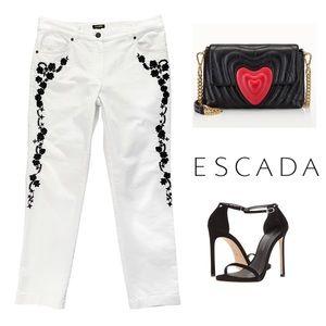 Escada Jeans - ESCADA WHITE BLACK EMBROIDERED JEANS  $535